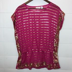 Chico's Gold Sequin Pink blouse